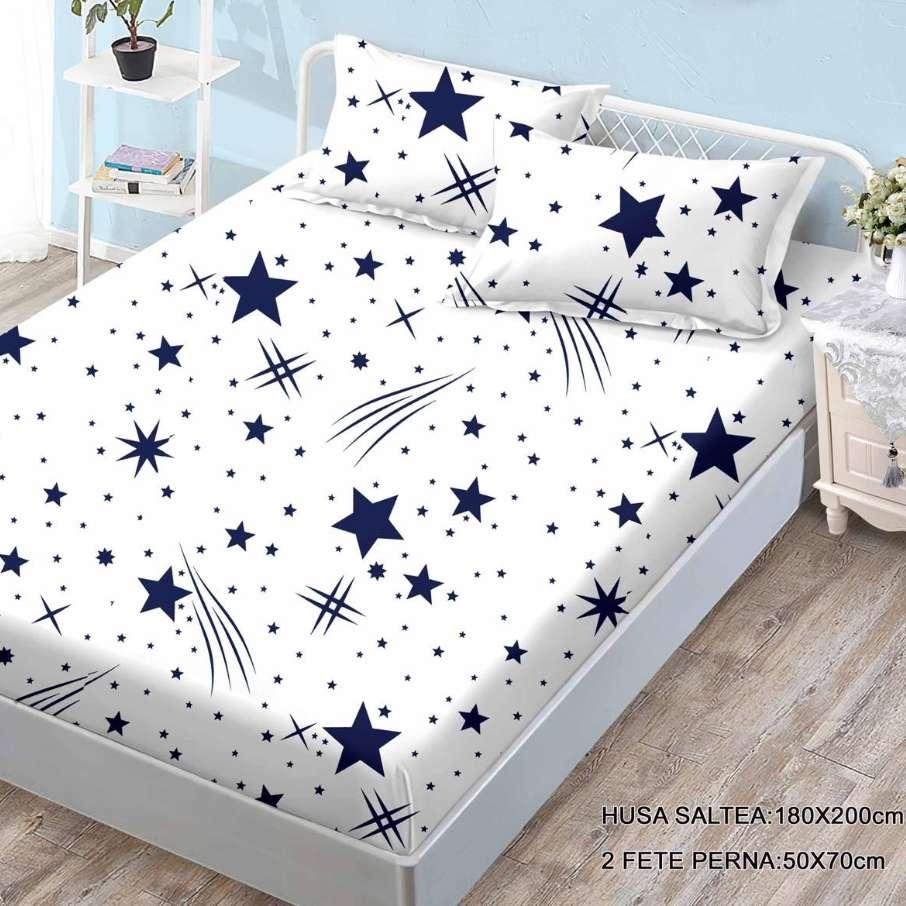 husa de pat cu elastic cu stelute