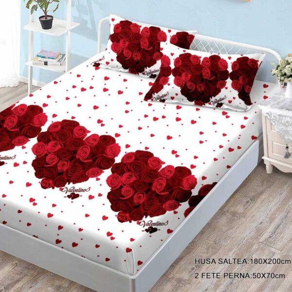 husa de pat cu elastic cu trandafiri