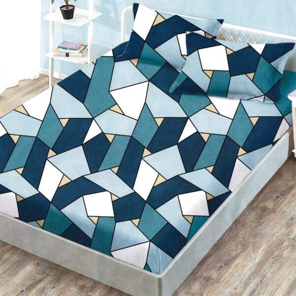 husa de pat cu elastic cu triunghiuri albastre
