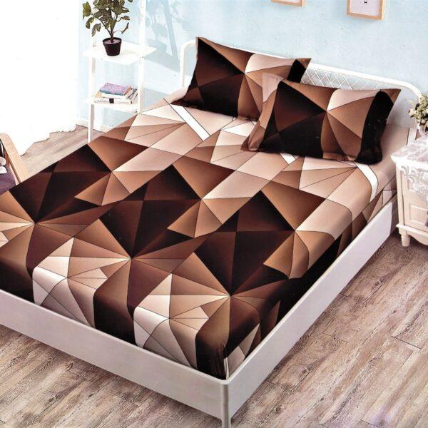 husa de pat cu elastic cu triunghiuri maro