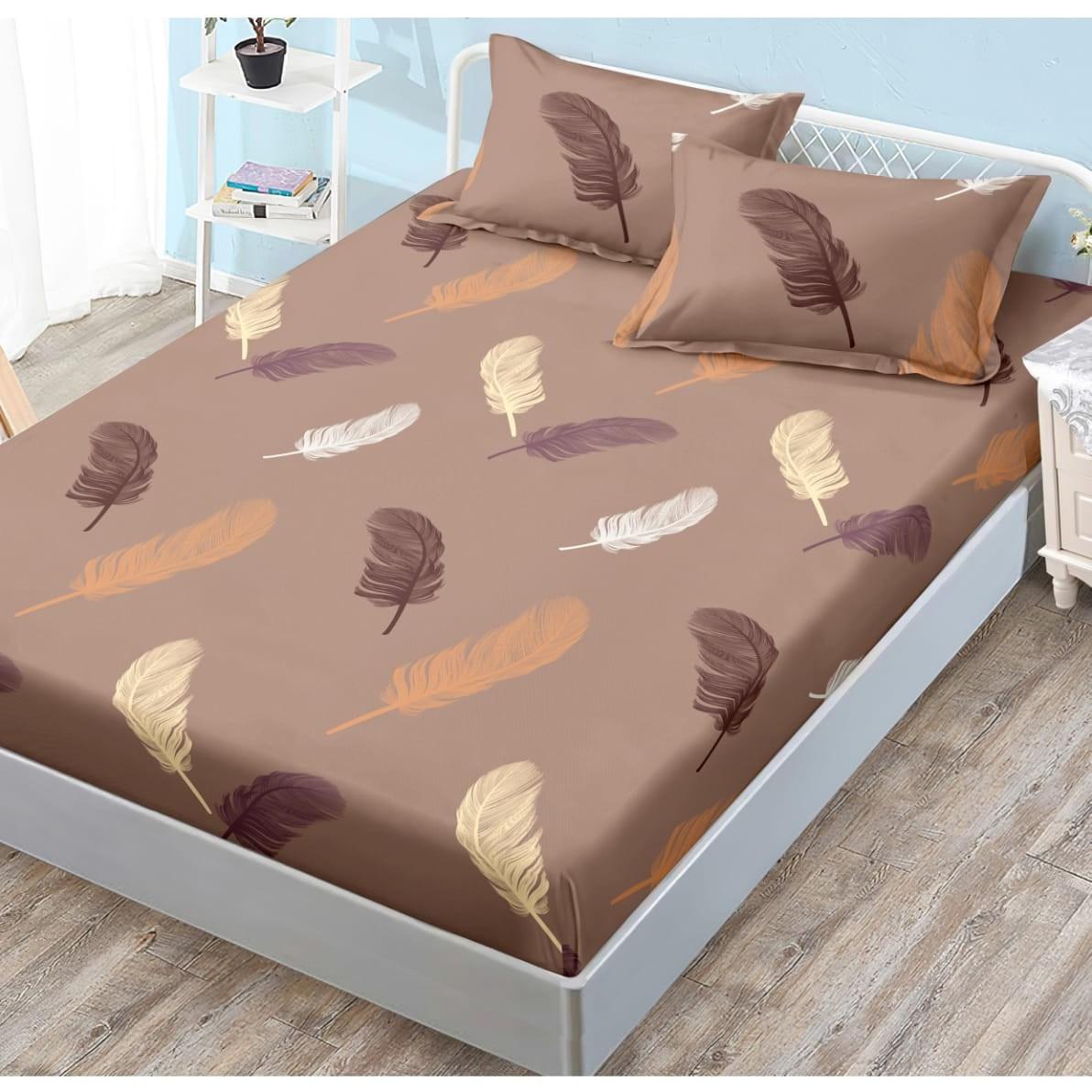 husa de pat cu elastic maro cu pene