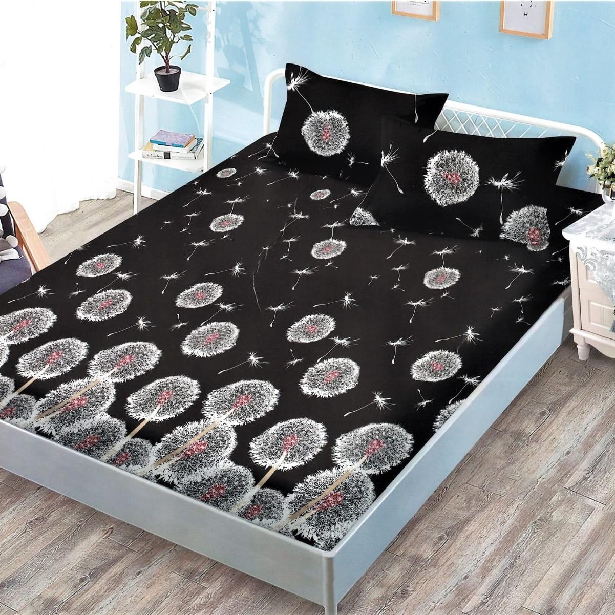 husa de pat cu elastic neagra cu papadii