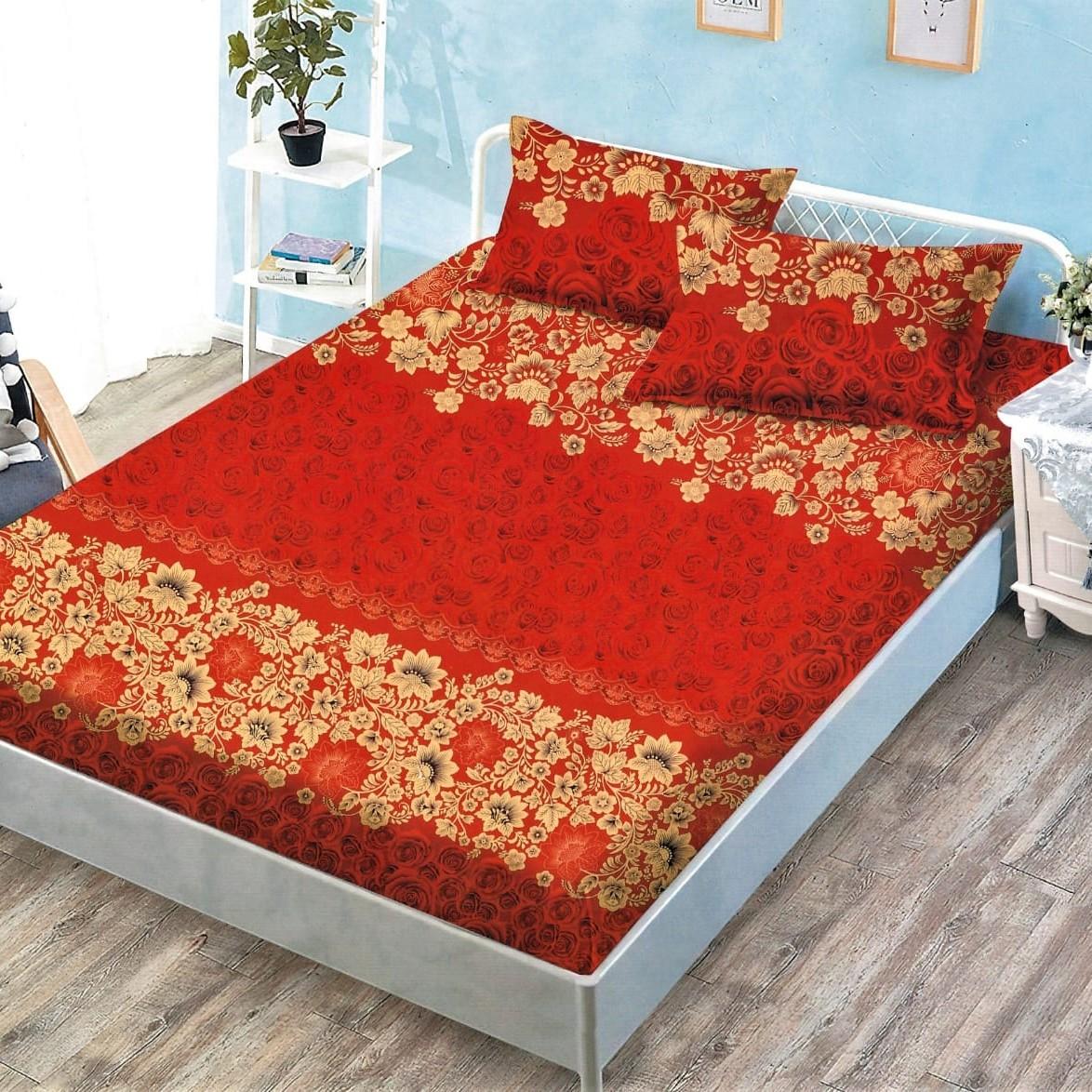 husa de pat cu elastic rosie cu auriu
