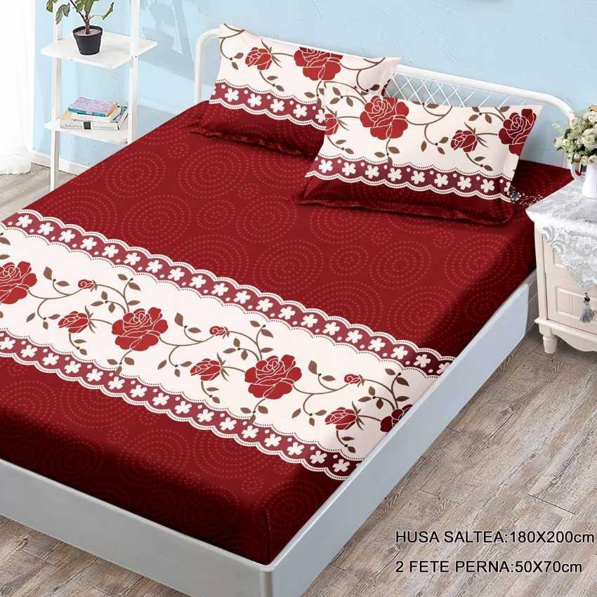 husa de pat cu elastic rosie cu trandafiri