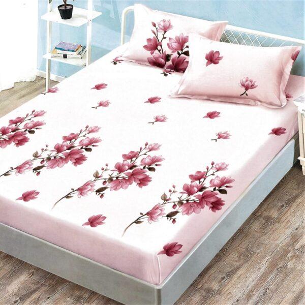 husa de pat cu elastic roz cu flori de cires