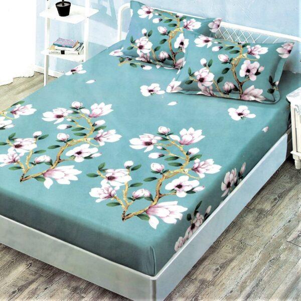 husa de pat cu elastic turcoaz cu flori albe