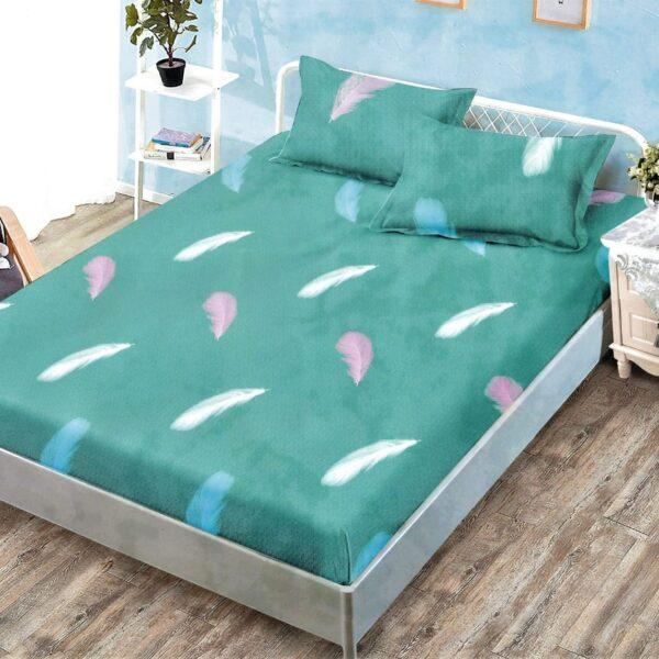 husa de pat cu elastic verde cu fulgi colorati