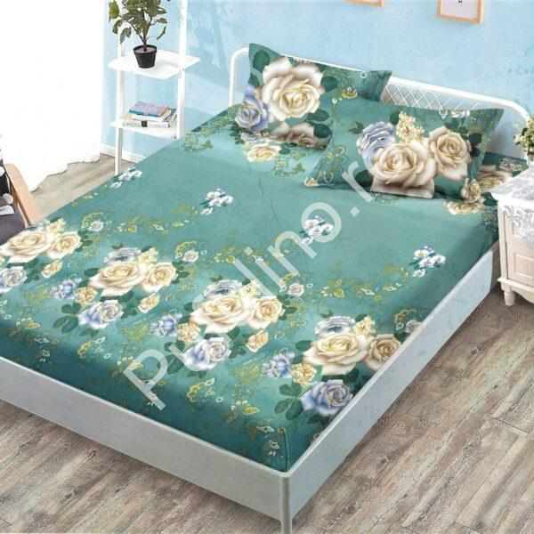 husa de pat cu elastic verde cu trandafiri galbeni