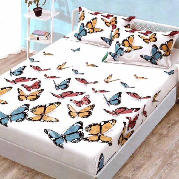 husa de pat finet cu 2 fete de perna alba cu fluturi