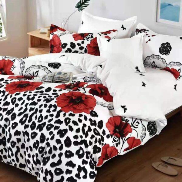 lenjerie alb negru cu maci
