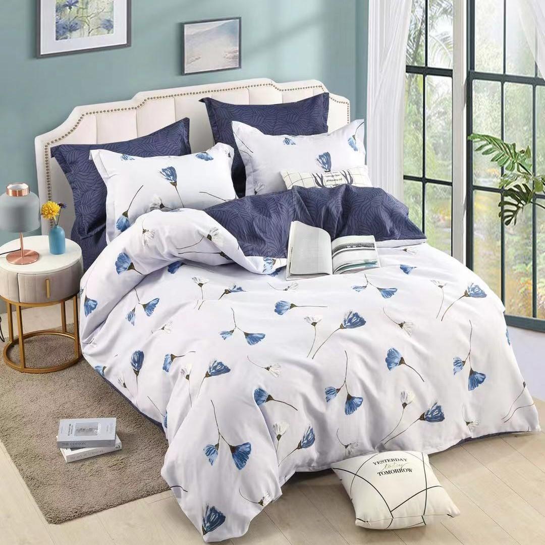 lenjerie alba cu 2 fete - albastru