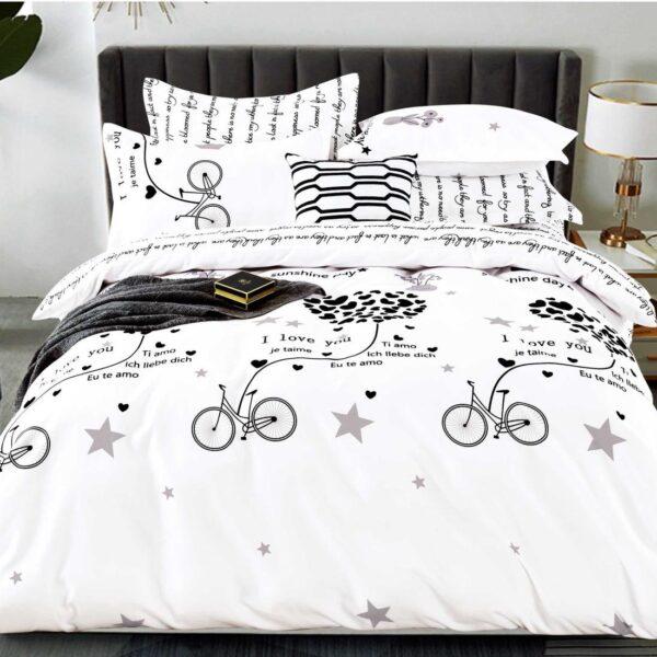 lenjerie alba cu biciclete