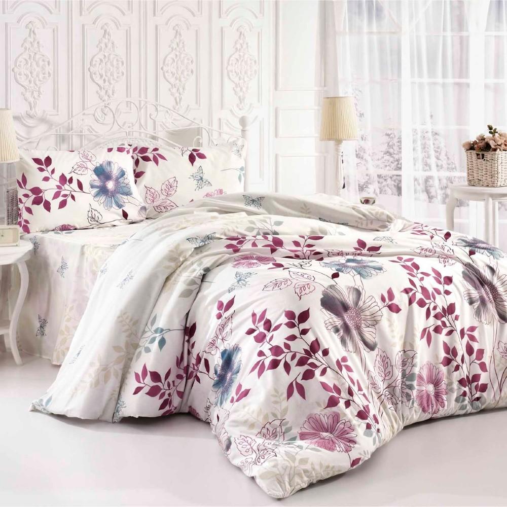 lenjerie alba cu flori roz