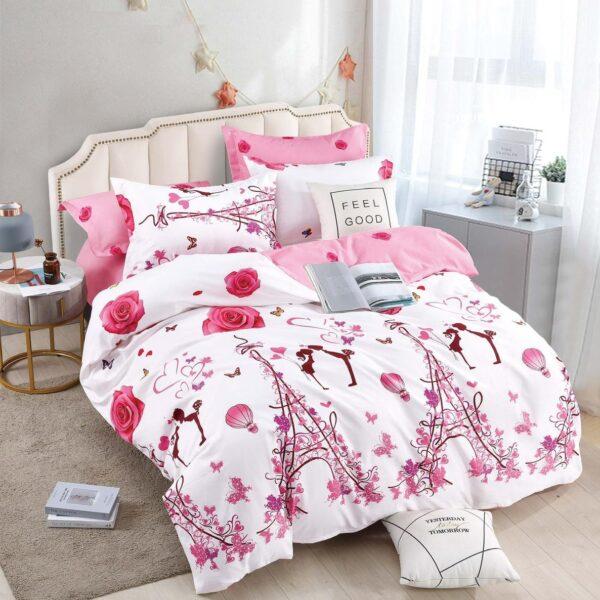 lenjerie cu elastic alb roz