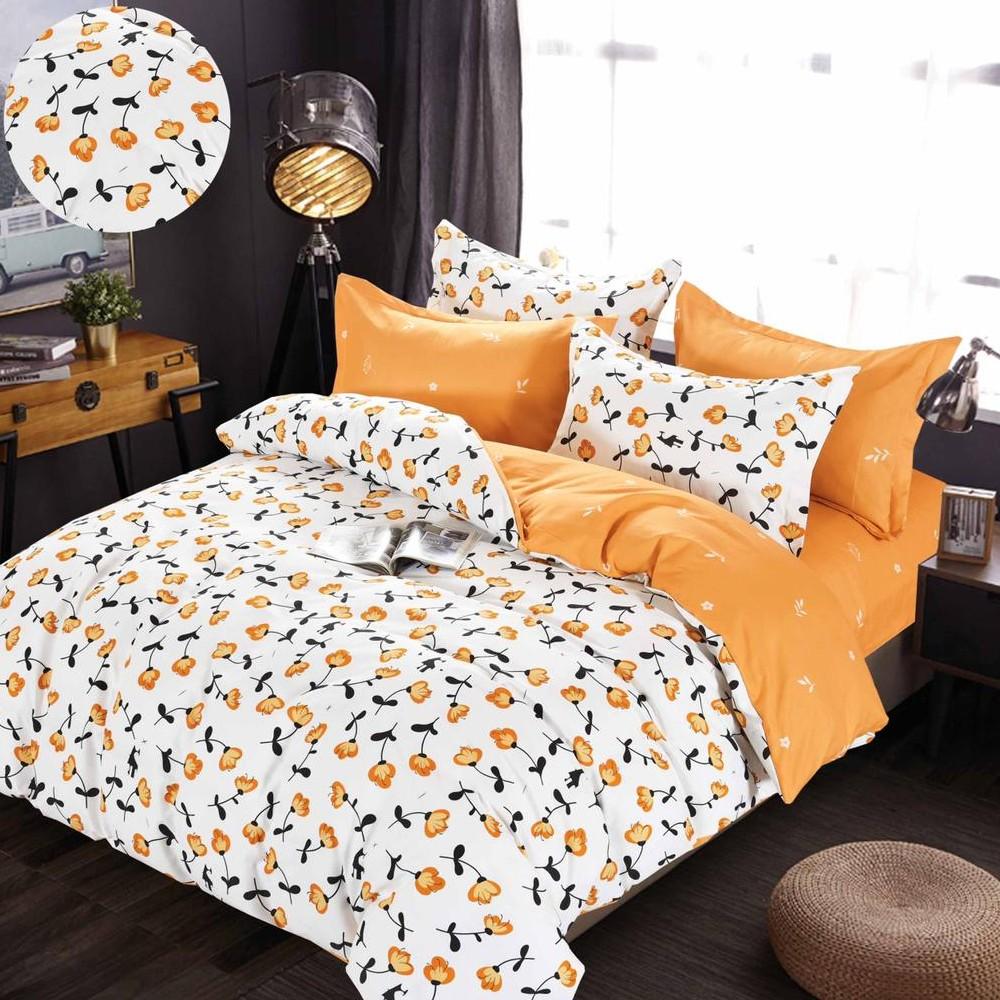 lenjerie cu elastic alba cu flori portocalii