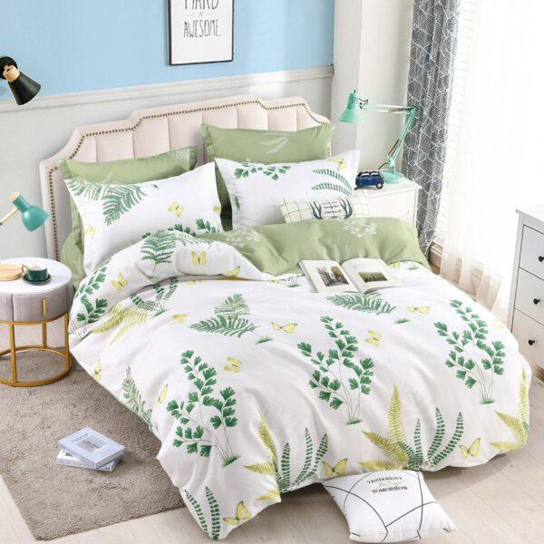 lenjerie cu elastic alba cu flori verzi