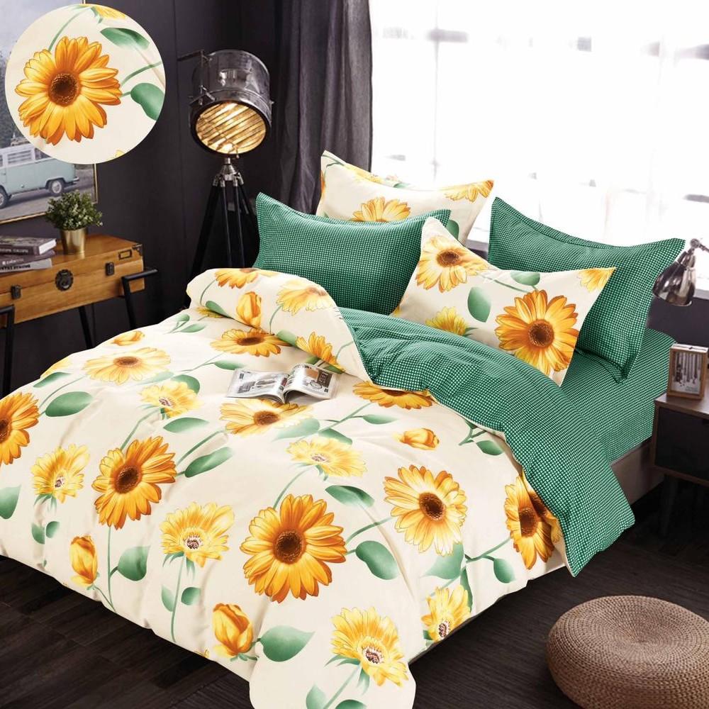 lenjerie cu elastic crem-verde cu floarea soarelui