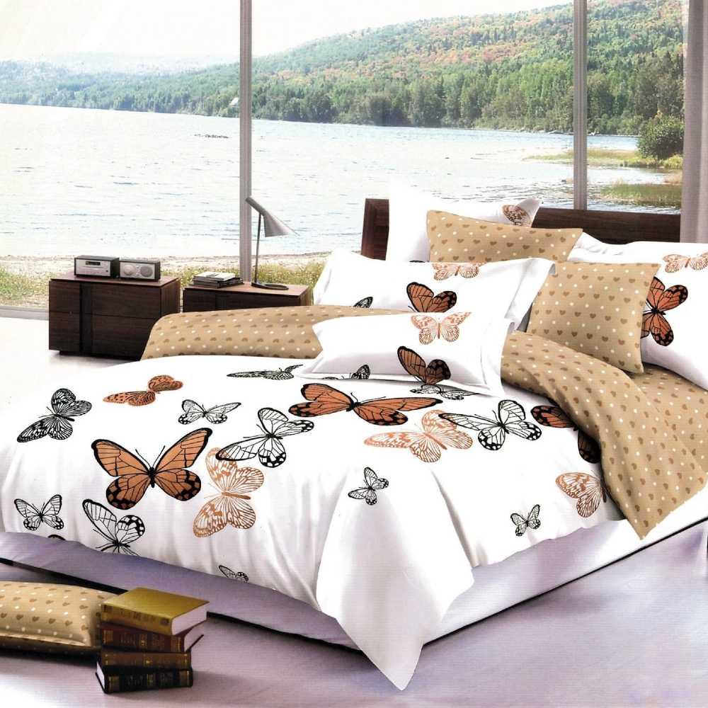 lenjerie de pat alb cu crem