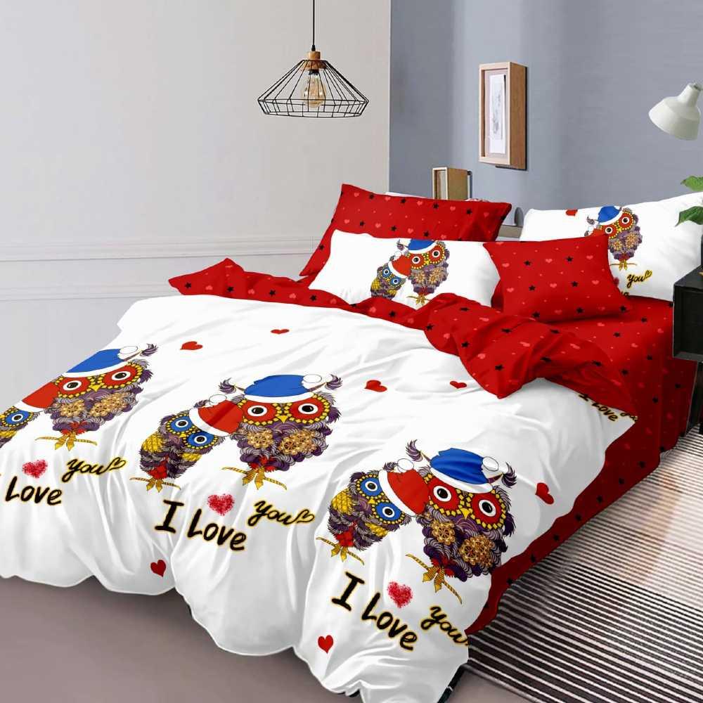 lenjerie de pat alb cu rosu