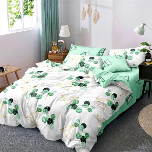 lenjerie de pat alb cu verde