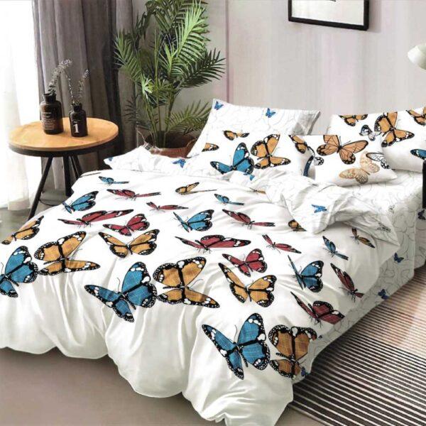 lenjerie de pat alba cu fluturi