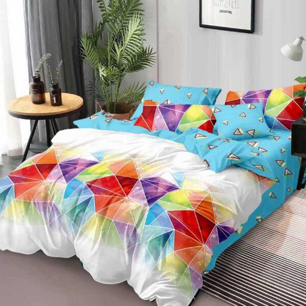 lenjerie de pat cu forme geometrice colorata