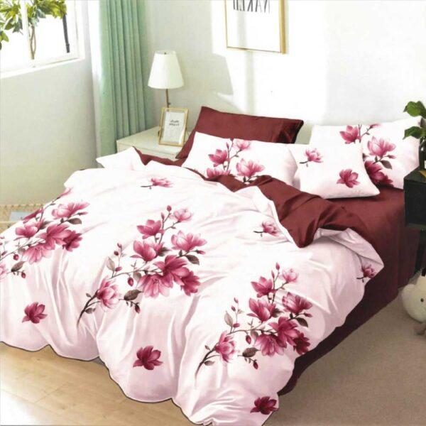 lenjerie de pat grena cu roz