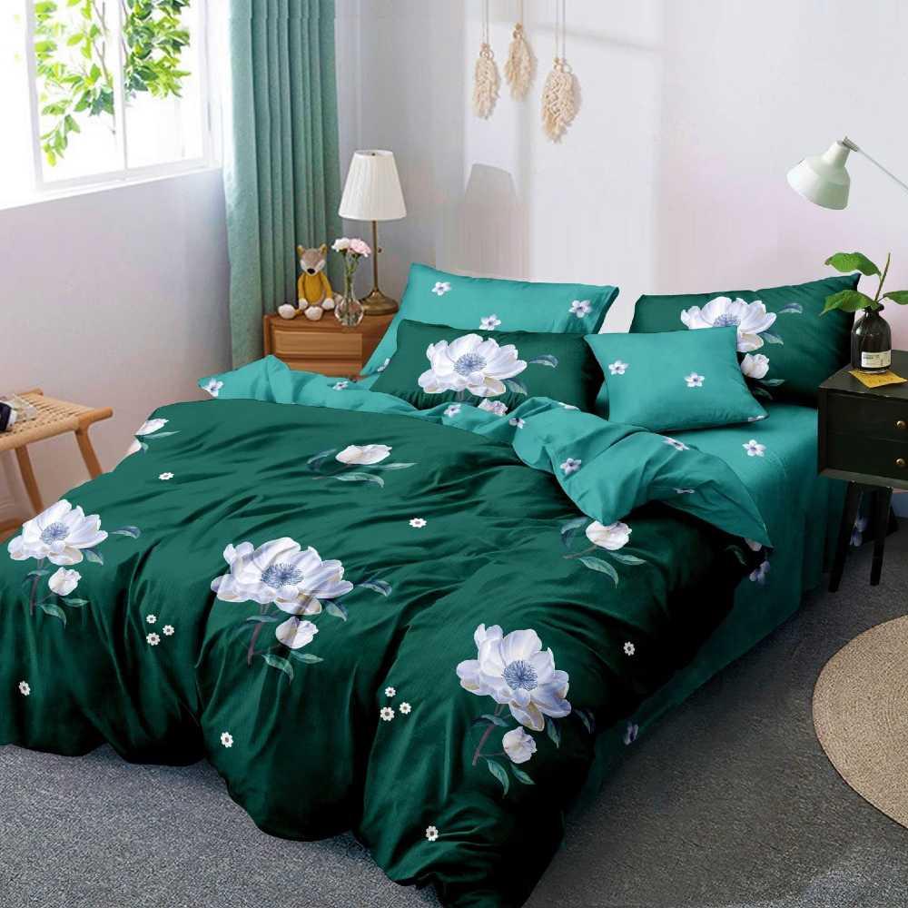 lenjerie de pat verde cu flori