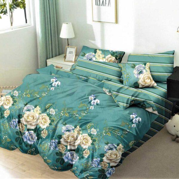 lenjerie de pat verde cu trandafiri