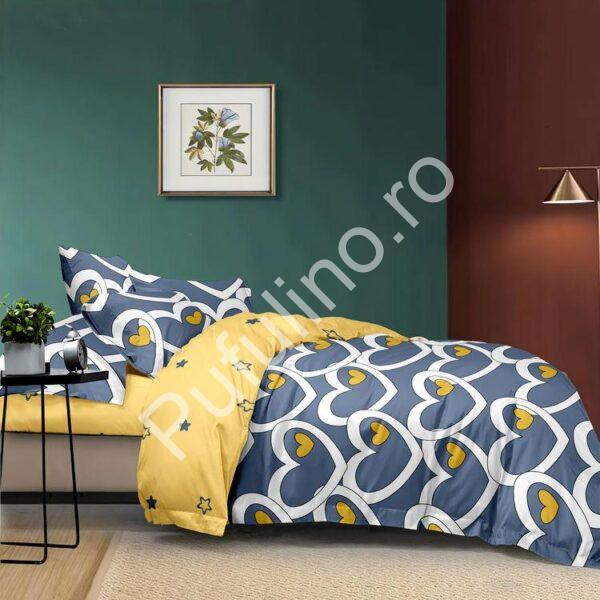 lenjerie din bumbac satinat albastra cu galben