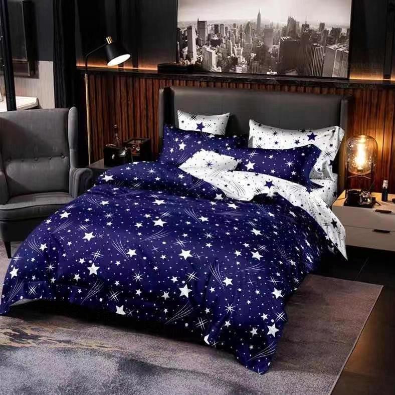 lenjerie din bumbac satinat albastra cu stele si 2 fete