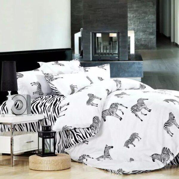 lenjerie din bumbac satinat zebra