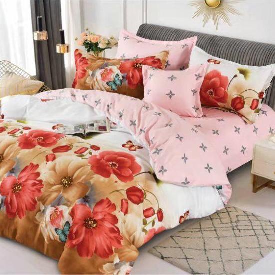 lenjerie maro cu flori rosii