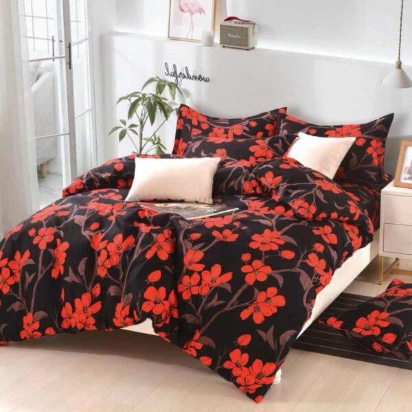 lenjerie neagra flori rosii