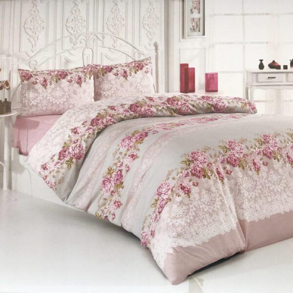 lenjerie roz cu trandafiri