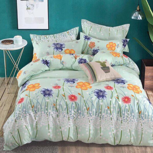 lenjerie verde cu flori