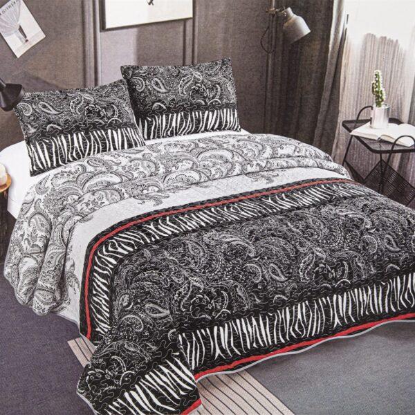 cuvertura de pat alb-negru
