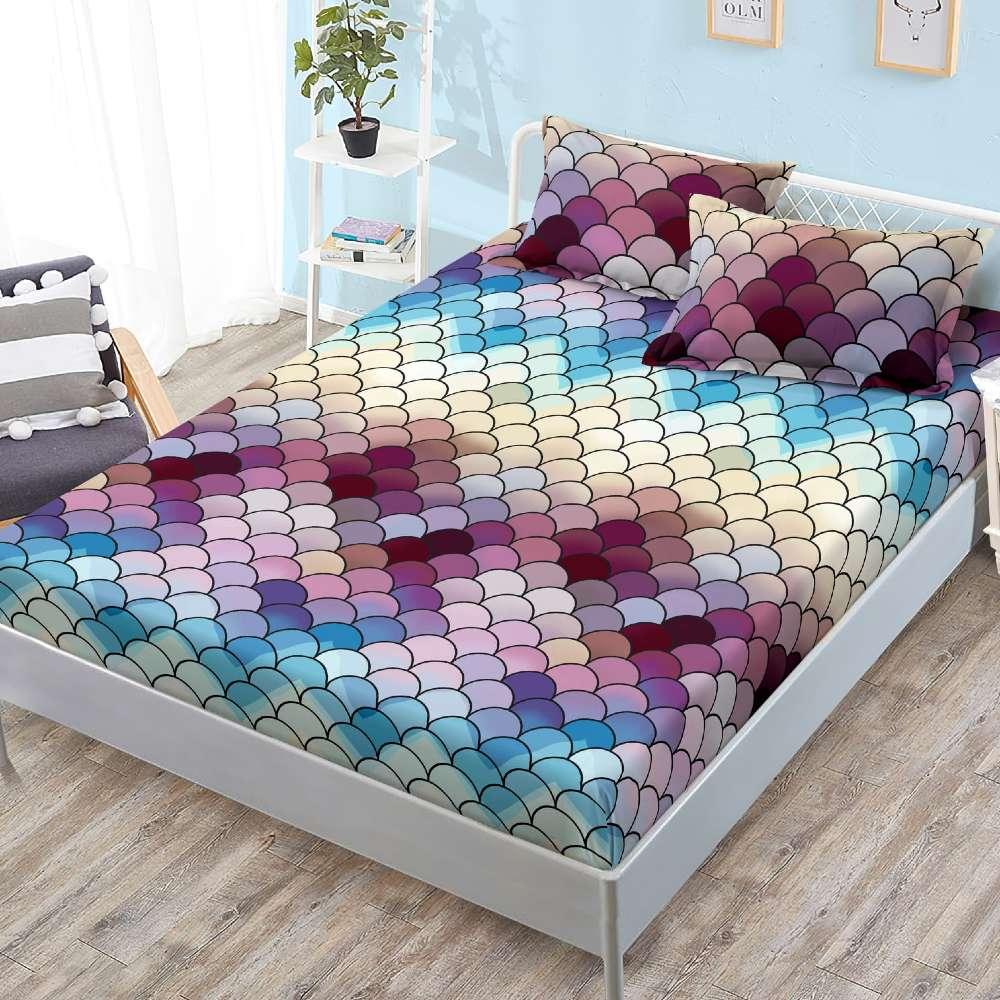 husa de pat cu elastic abstract colorat