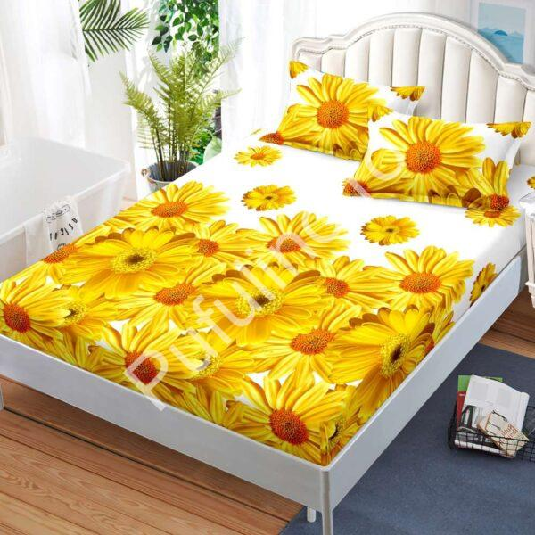 husa de pat cu elastic alba cu flori galbene