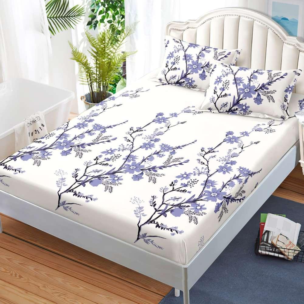 husa de pat cu elastic alba cu flori mov