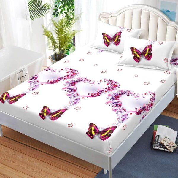 husa de pat cu elastic alba cu fluturi colorati