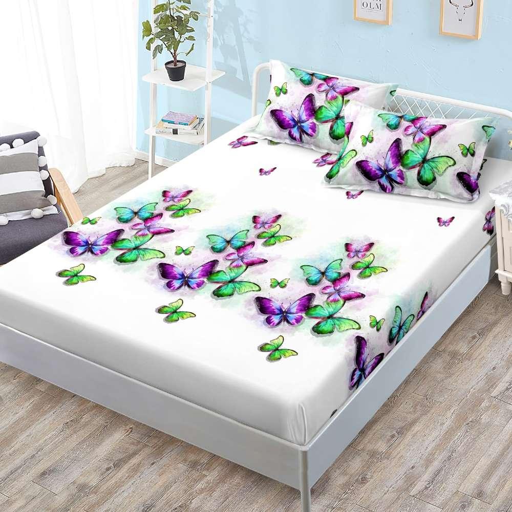 husa de pat cu elastic alba cu fluturi multicolor
