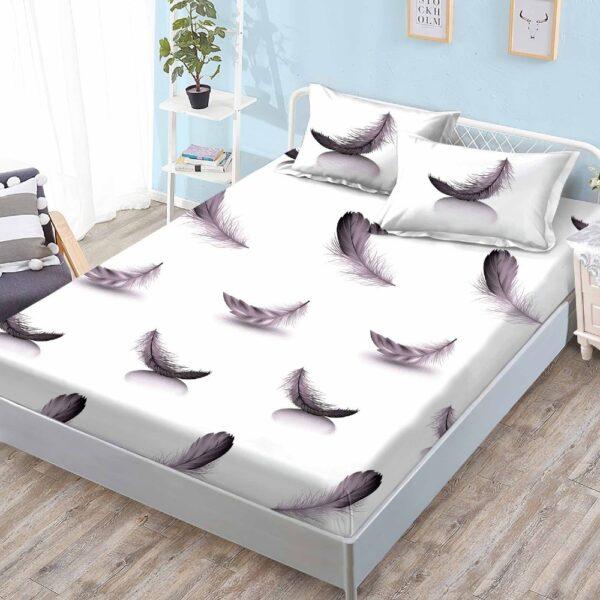 husa de pat cu elastic alba cu fulgi
