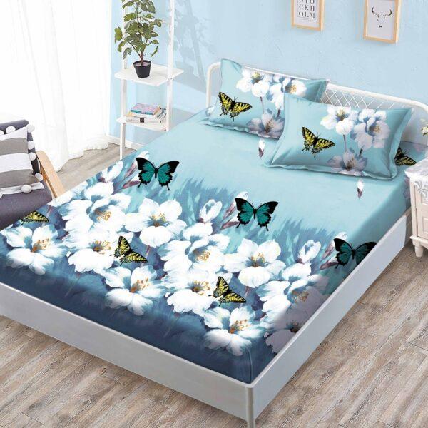 husa de pat cu elastic albastra cu fluturi si flori albe