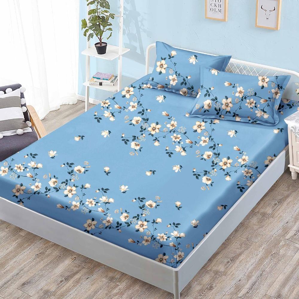 husa de pat cu elastic albastra