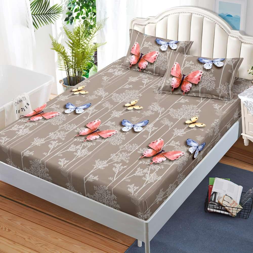 husa de pat cu elastic bej cu fluturi