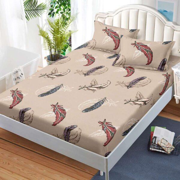 husa de pat cu elastic bej cu pene