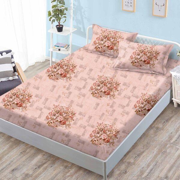 husa de pat cu elastic crem