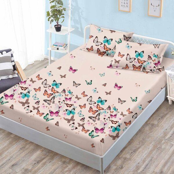 husa de pat cu elastic crem cu fluturi