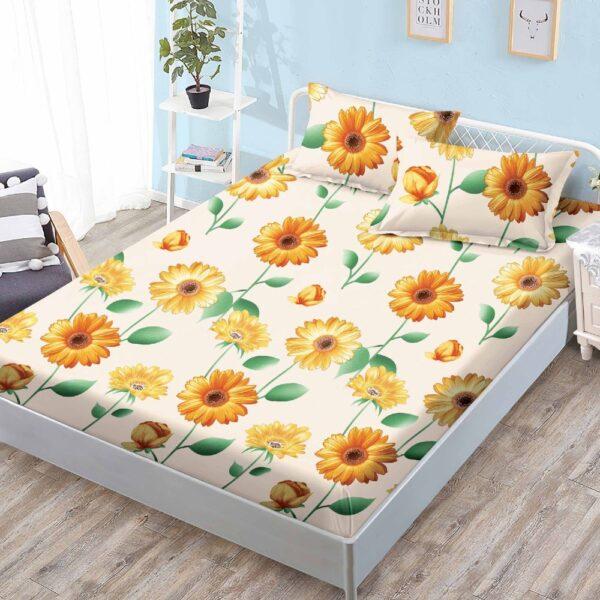 husa de pat cu elastic crem floarea soarelui